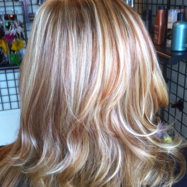 Light Brown Hair With Blonde And Red Highlights 100