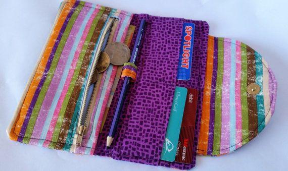 Stripey multi-coloured Fiona wallet a Clobird Design pattern