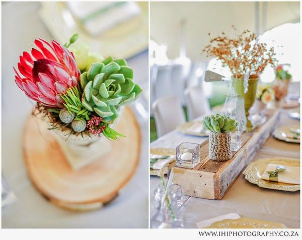 Fresh pastel wedding decor with protea flowers, hessian cloth and wild grasses | Bloemfontein Wedding Photographer, South Africa