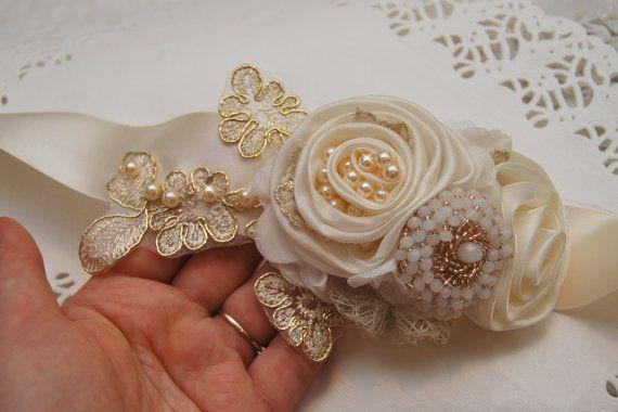 Bridal Belt Wedding Sash Ivory & Gold Lace by BridalBlushChampagne