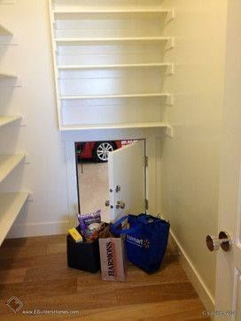 With a pantry that backs against a garage, a small door inserted in between makes transferring groceries from car to cupboard much easier.