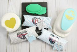 Holiday Pillow Boxes by Becki Adams featuring the We R Memory Keepers featuring the Pillow Box Punch Board and the DCWV Winter Frost Premium Stack