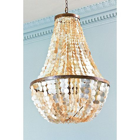 "Alessandra 5-Light ChandelierDimensions: Overall: 34""H X 24"" Diameter Ceiling Canopy: 5"" Diameter Chain: 3'L Construction: Handmade of capiz shells and a metal frame. Lighting: Antique Gold: Uses type B 40W max bulbs. Cord is clear. Rubbed Bronze: Uses type B 40W max bulbs. Cord is brown."