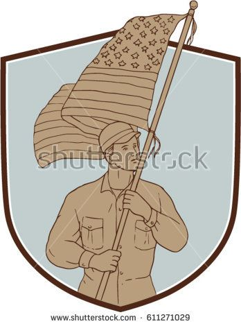 Drawing sketch style illustration of an american soldier serviceman waving holding usa flag looking to the side set inside shield crest on isolated background.   #soldier #sketch #illustration