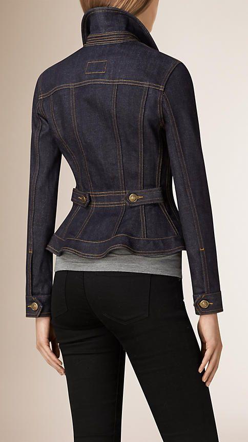 Índigo Jaqueta jeans de ourela japonesa com babado peplum na cintura - Imagem 3