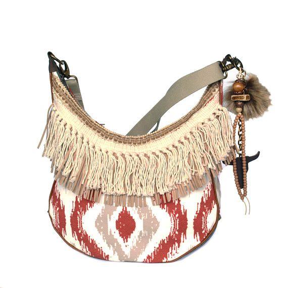 Schouder tas Navajo stijl franje tas etnisch patroon beige