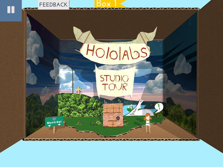 We recreated Hololabs inside Papercade! Here, in the first diorama box, we can see the Hololabs building in Montreal and talk to Pepper, our Papercade mascot. #papercade #scrapgaming