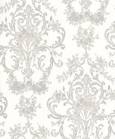 Aston Silver (3552535) - Laura Ashley Wallpapers - A traditional damask style design with floral vases, roses and curly trail in silver grey. Please request a sample for true colour match.