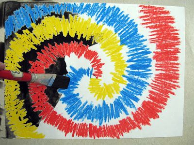 Contrast tie dye crayon resists. Done with first grade.
