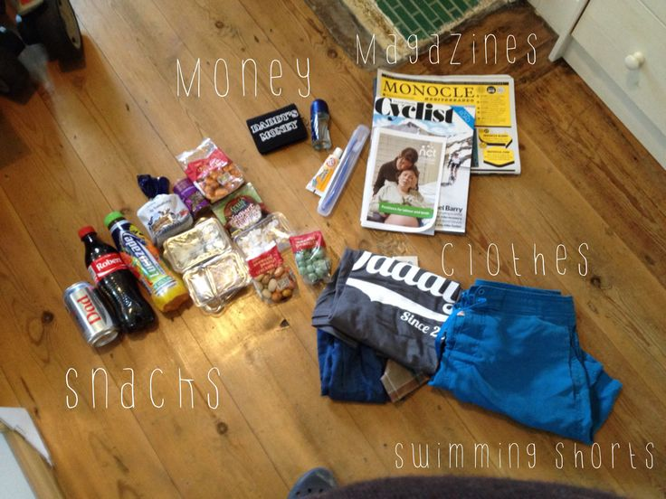 My husband's hospital bag. Snacks: cokes (with 'Dad' on) Lucozade, caramel wafers, yogurt raisins, mini breadsticks, peanut crackers, wasabi peanuts, chilli rice crackers. Money: tacky wallet found in charity shop. £10 worth of 50p for coffee & car park Toiletries: deodorant, mini toothpaste & toothbrush Reading material: Cyclist Magazine, Monocle Magazine & labour info Clothes: swimming shorts (for birth pool), boxers, hanky & 'Daddy since 2014' top found on Etsy. Photo by Hannah Cooper