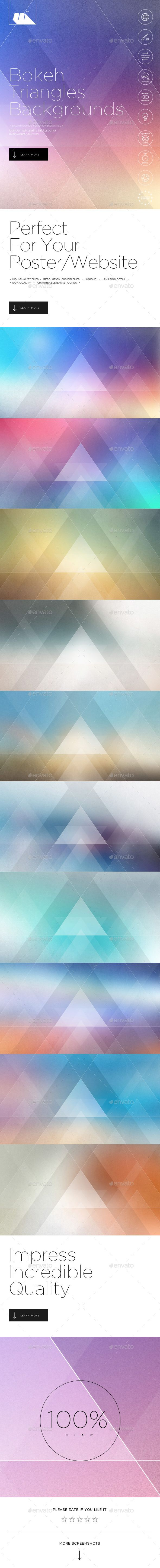 Geometric Bokeh Triangles Backgrounds - Abstract Backgrounds