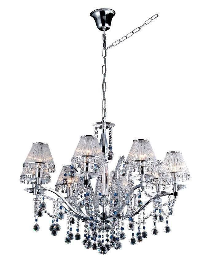 Vienna Chandelier - 8 Light  It is difficult to find the words to describe just how gorgeous the Vienna Chandelier - 8 Light is. Similar in style to our Mosman Chandelier range however here the lamps are surrounded by delicate and stylish shades. Chrome finished and dripping in high quality crystal. If you can't fit the 15 light in your space, this is the next best thing.