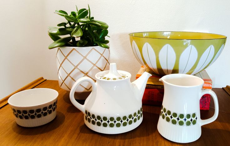 Figgjo Flint Norway Tea Pot Milk Jug and Sugar Bowl Rare Pattern 1960s /Green Geometric pattern/Mid Century Scandinavian Tea Set by RetroandRitzy on Etsy