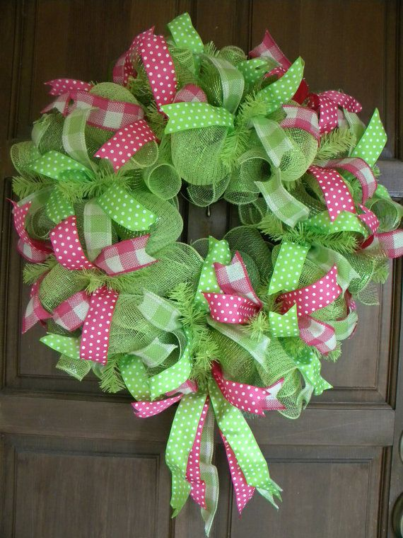 Green and Pink Spring and Summer Deco Mesh by DecoratedDoors, $65.00