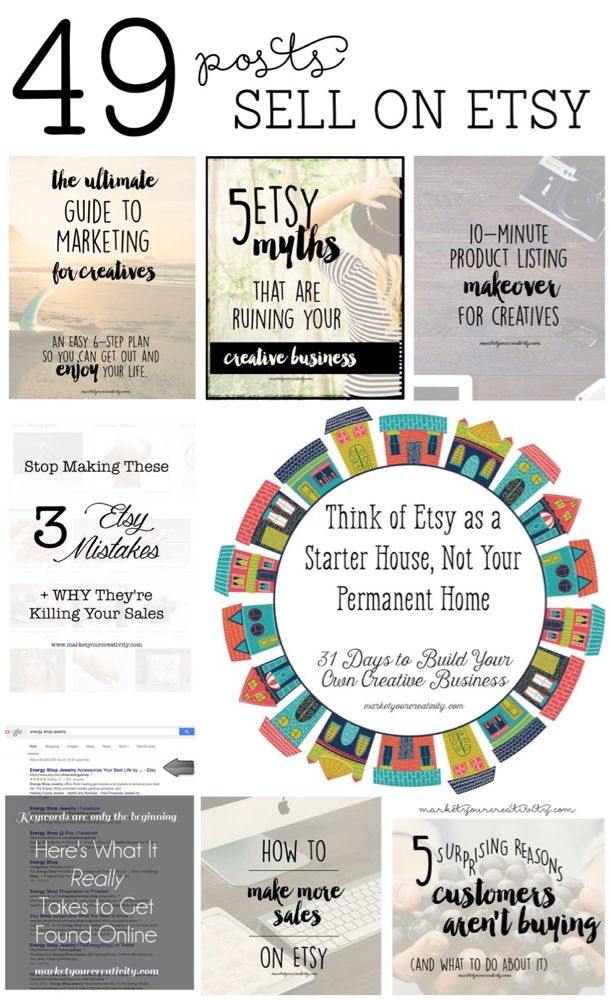 49 Posts to Help You Sell on Etsy - Marketing Creativity http://www.marketyourcreativity.com/2015/11/sell-on-etsy