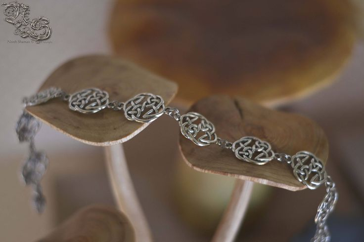 Necklace Awena - medieval celtic viking pagan gothic fantasy elven choker with interlaced interlacing silver knot - North Shaman
