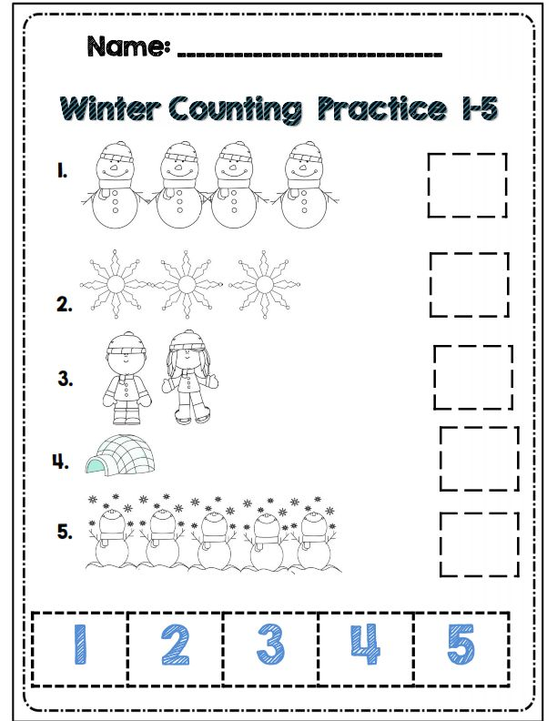 Winter counting practice for kdg part of 30 page common core aligned math and ELA winter packet
