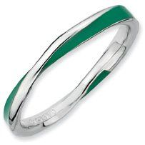 Glad Day Silver Twisted Green Enamel Stackable Ring. Sizes 5-10 Available Jewelry Pot. $20.99. Fabulous Promotions and Discounts!. 100% Satisfaction Guarantee. Questions? Call 866-923-4446. 30 Day Money Back Guarantee. Your item will be shipped the same or next weekday!. All Genuine Diamonds, Gemstones, Materials, and Precious Metals