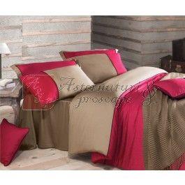 Lenjerie de pat de lux din bumbac satinat Issimo Annette fucsia 2 persoane