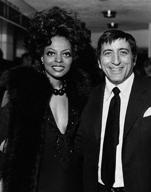 Diana Ross and Tony Bennett at the London premiere of 'Lady Sings the Blues', April 1973.