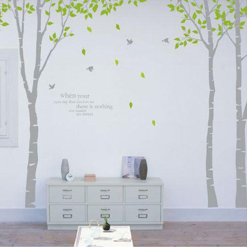 Grote bomen triple muurstickers / woonkamer / hal / entree / achtergrond TV muurstickers berken-bomen omzoomde C