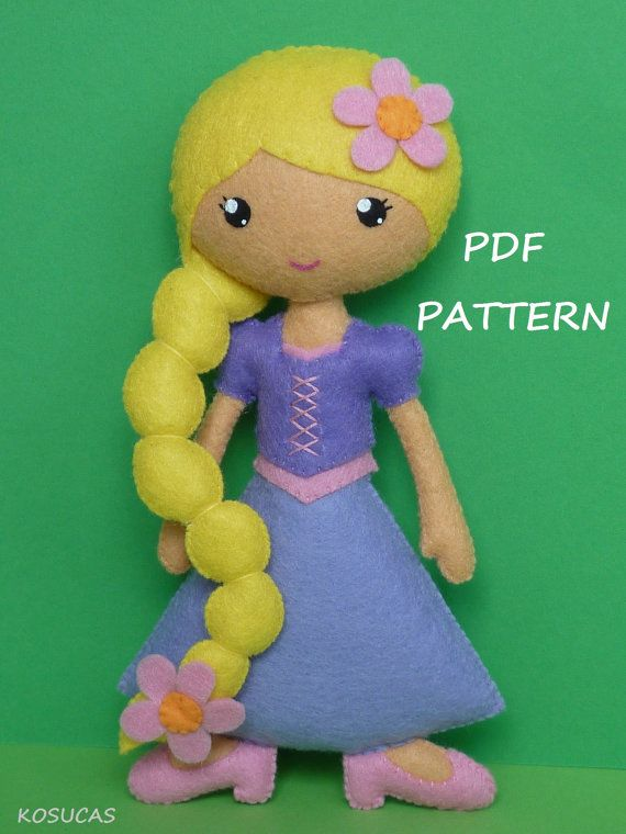 PDF sewing pattern to make a felt doll inspired in Rapunzel