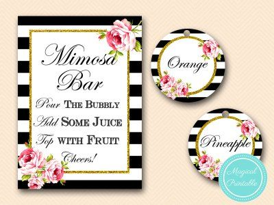 Mimosa Bar Sign, Bubbly Bar Sign, Mimosa Juice Tags