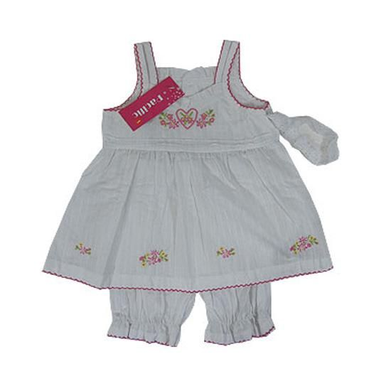 Country Girl In White & Pink 3 Pieces Set - Baby Girls Clothes