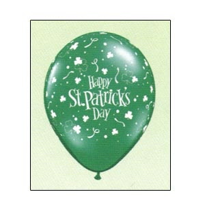 """11"""" Balloons (ST. Patrick's Day Shamrocks) Emerald Green .Available empty.Helium filled option for local pickup or delivery only.For larger quantities than listed under """"balloon options"""" please inquire.Qualatex Brand Balloons are the best grade of latex balloons, giving superior performance."""
