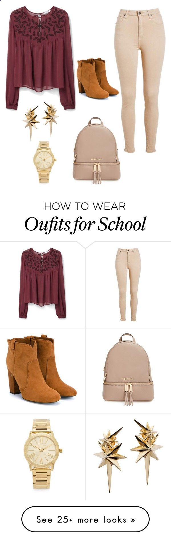 Casual School Outfit by maytte-carrera on Polyvore featuring MANGO, MICHAEL Michael Kors, Laurence Dacade, Ludevine, Michael Kors, womens clothing, women, female, woman and misses