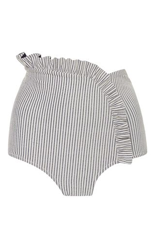 This **Made by Dawn** bikini bottom features a high waist fit and overlapping ruffle across the front.