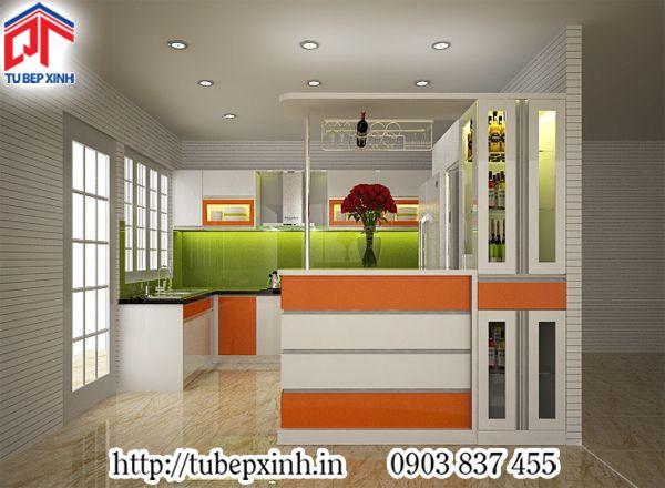 Tủ bếp acrylic có quầy bar gam màu cam cá tính-TB240