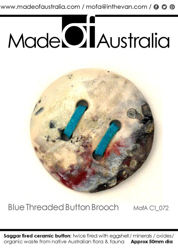 Ceramic Button Brooch with Blue Leather by MadeOFAustralia on Etsy, $69.00