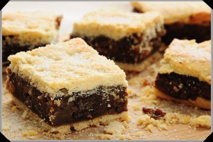 Gur cake - You will find this in Dublin bakeries still, though nowadays it will more usually be labelled fruit slice (or possibly Chester cake) – moistened bread or cake crumbs mixed with fruit and treacle or sugar, and spread between two sheets of pastry.