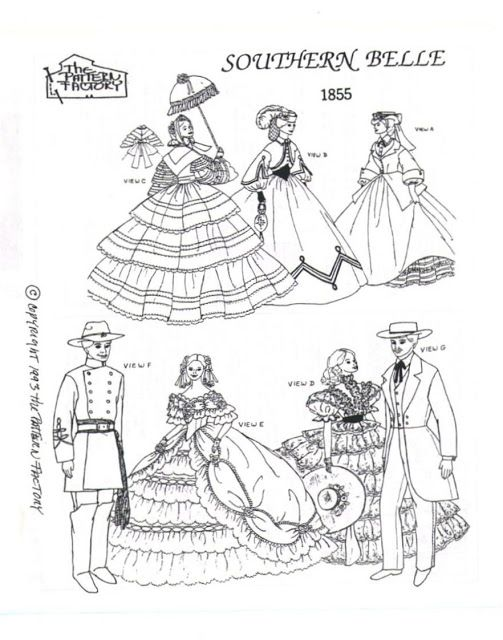 Free Copy of Patterns - Southern Belle 1855