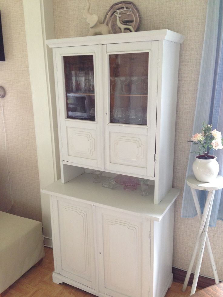 Living room, old glass door cabinet made by grandfather