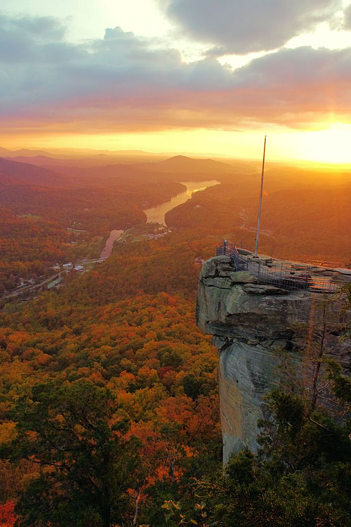 Sunrise today at Chimney Rock Park, near Asheville, North Carolina.