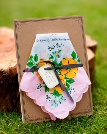 This vintage handkerchief invite doubles as a favor for guests