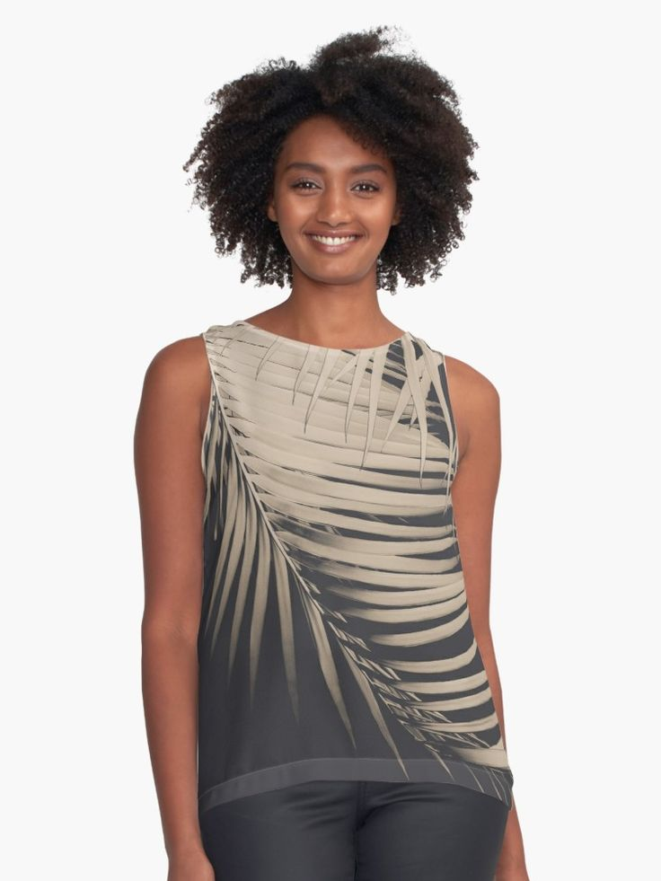 """Palm Leaves Sepia Vibes #1 #tropical #decor #art"" Contrast Tank by anitabellajantz 