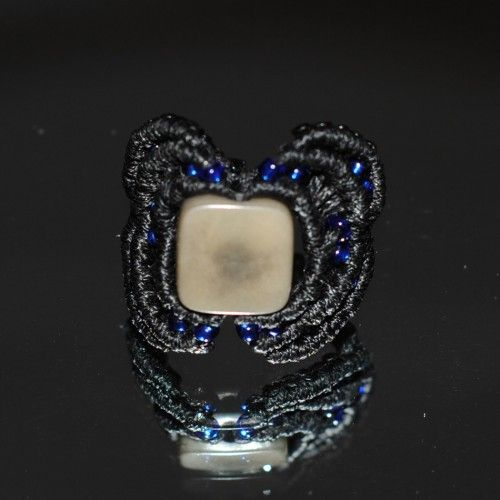 Unique handmade macramé Ring, Waxed black thread, Εlectric blue beads, 2,5cm. diameter http://reignofknots.com/index.php?route=product/category&path=17