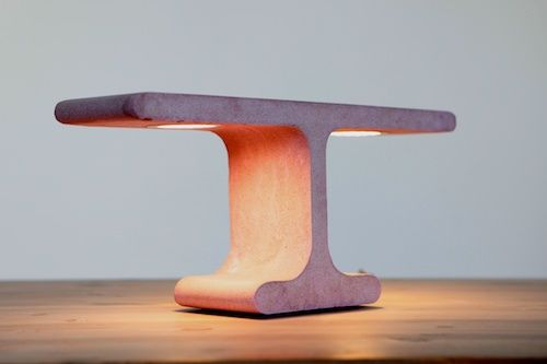 "Pink ""T"" lamp in concrete."