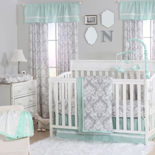 Grey Damask and Mint Green 4 Piece Baby Crib Bedding Set by The Peanut Shell