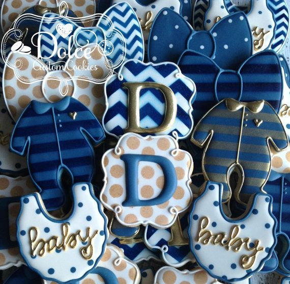 ***Please contact me prior to placing your order to be sure that I have availability for your date.*** **The price posted on this listing is for one dozen (12) beautifully decorated and delicious Baby Boy Bow Tie Baby Shower cookies.** **Please note: there is a minimum order of 2 dozen cookies.**  Colours can be customized. This listing includes:  3 Monograms 3 Bow Ties 3 Bibs 3 Onesies  Delicious Vanilla Bean Sugar Cookie with Vanilla Royal Icing. Each order is baked fresh, which ensures…