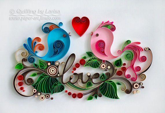 Quilling wall art Quilling art Paper quilling Love Birds Wedding Quilling heart Wedding Anniversary Love day Handmade Decor Design Gift