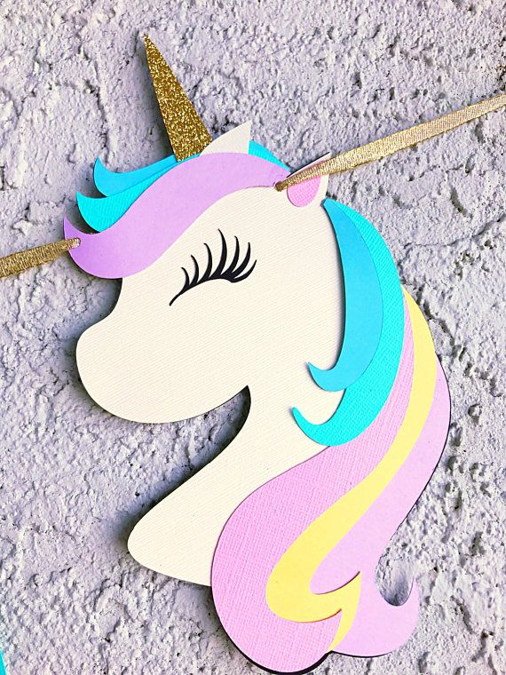 This listing is for a Unicorn themed Happy Birthday Banner. Made out of high quality cardstock. Each pennant measures 5.5 inches tall. Layered for a 3D effect. Colors used are pink, yellow, teal and lavender- (orange is in the rainbow) any colors can be used per your request.
