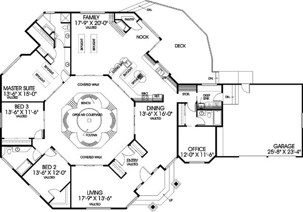 Traditional Style House Plans - 2698 Square Foot Home , 1 Story, 3 Bedroom and 3 Bath, 2 Garage Stalls by Monster House Plans - Plan 33-161. Center courtyard and octagon shape. Never seen anything like this, although some of the rooms are awkward.