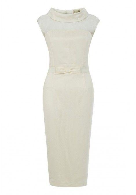 Lindy Bop Joni Wiggle Dress in Ivory