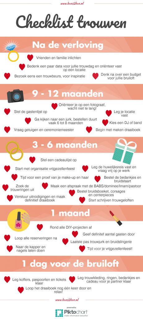 Met deze handige wedding checklist sla jij geen enkele stap over! #wedding #checklist #marriage #trouwen