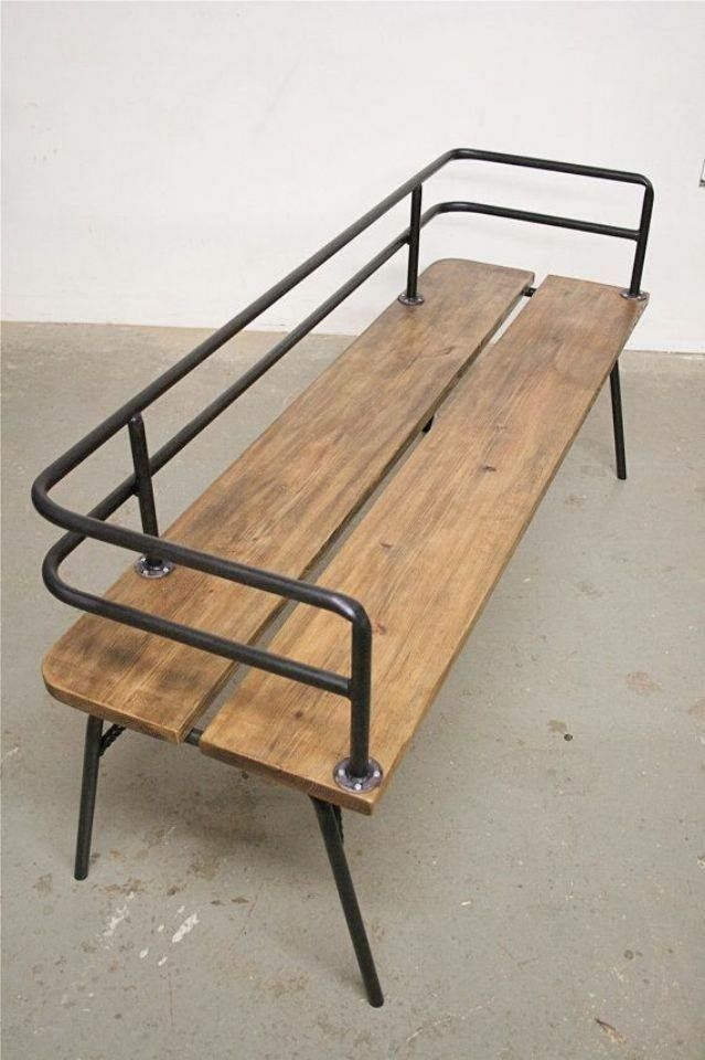 Could expand on this industrial design bench as outdoor furniture for days!! Make it a sectional, add cushions, matching chairs and tables... #industrialfurniture