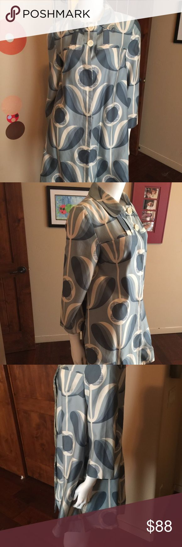 """Orla Kiely wallflower Print Jacket Coat size 8 Rare find Orla Kiely wallflower print jacket Size 8 Fabric: 63%. Cotton 36% rayon 1% silk Fully Lined  17"""" across armpit to armpit 35"""" length Condition: good used condition for three untreated stains around right armpit please see pic  Feel free to contact me with any questions.  Thanks for looking. Please take a peek at my other items for sale.  Smoke free home Orla Kiely Jackets & Coats Trench Coats"""